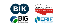 Logotypy: BIK, KRD, BIG InfoMonitor oraz ERIF