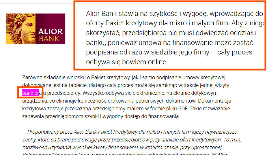 Ekonofiction kredytu online Alior Banku